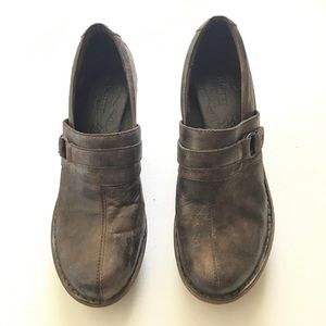 BORN Platform Clog Sz 10 Shoes Brown Gray Leather